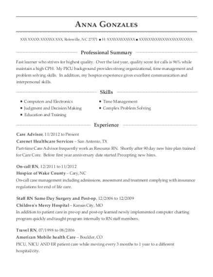 Care Advisor resume example North Carolina