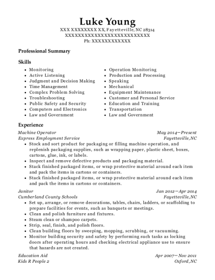 Machine Operator resume sample North Carolina