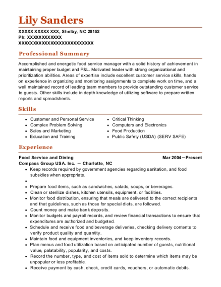 Food Service and Dining resume example North Carolina