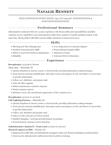 Receptionist resume example North Carolina