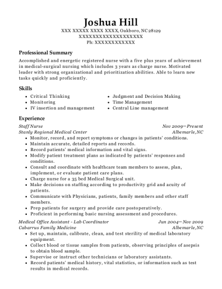 Staff Nurse resume example North Carolina