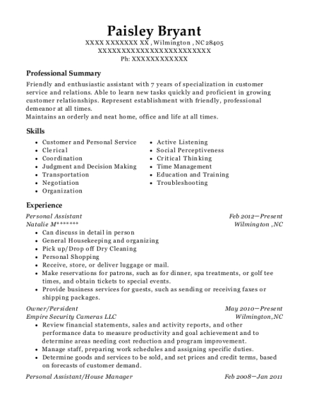 Personal Assistant resume template North Carolina