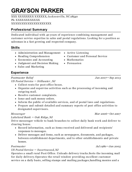 Postmaster Relief resume sample North Carolina