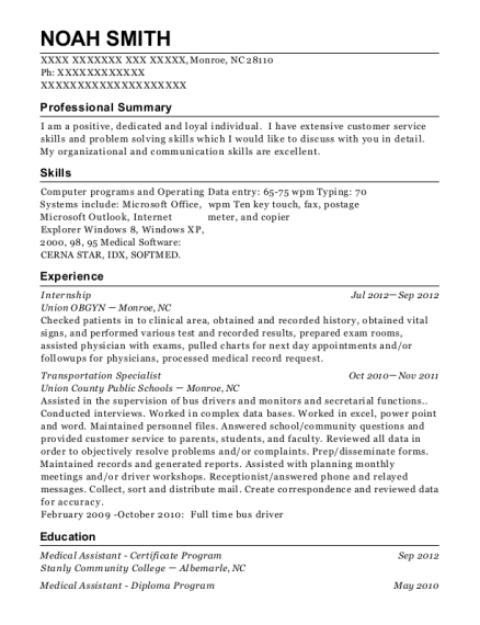 Internship resume example North Carolina