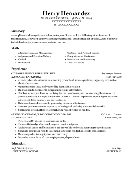 Customer Service Representative resume format North Carolina