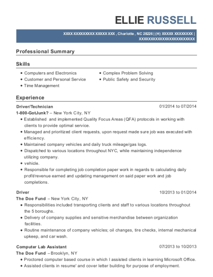 Driver resume example North Carolina