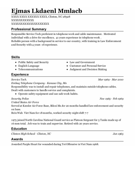 Service Tech resume template North Carolina