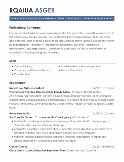 Home Health Aid resume sample North Carolina