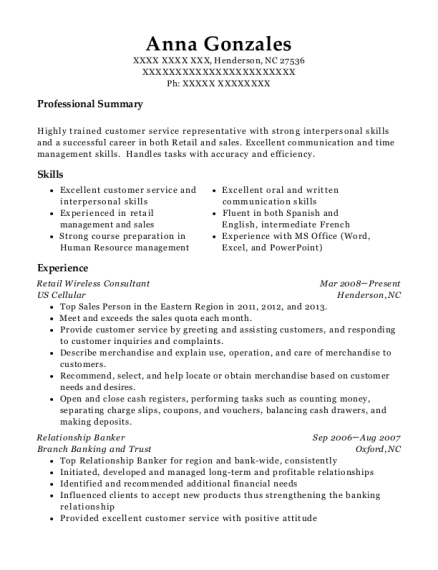 Retail Wireless Consultant resume example North Carolina