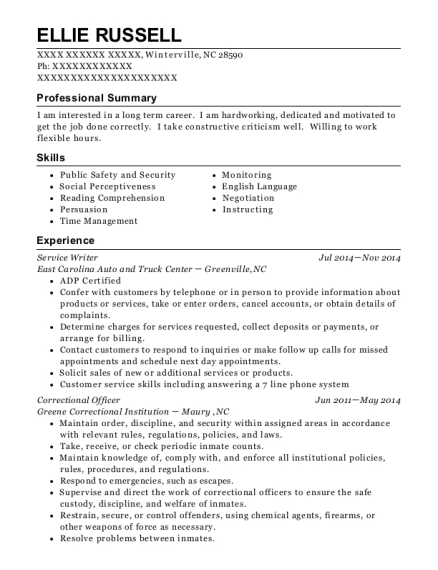 Service Writer resume example North Carolina