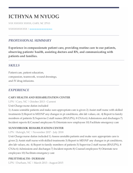 LPN resume template North Carolina