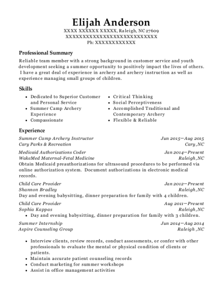 Summer Camp Archery Instructor resume sample North Carolina