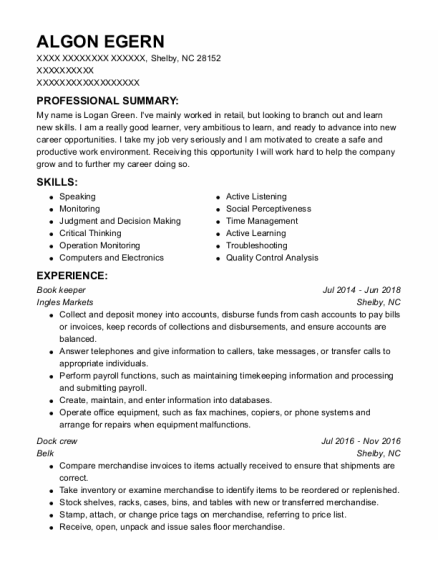 Book Keeper resume sample North Carolina