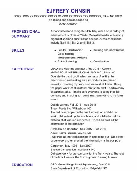 Scale House Operator resume template North Carolina