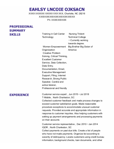 Customer Service Expert resume sample North Carolina