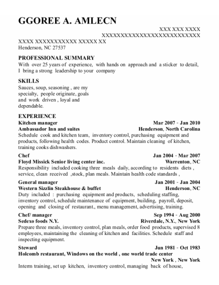 Chef resume sample North Carolina