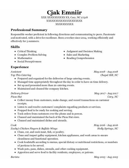 Assistant resume template North Carolina