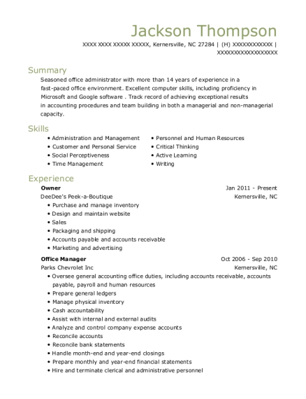 Owner resume example North Carolina