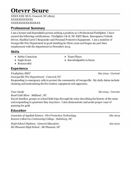 Firefighter resume template North Carolina