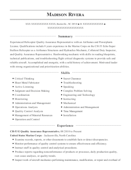 CH 53 E Quality Assurance Representative resume example North Carolina