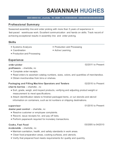 order picker resume template North Carolina