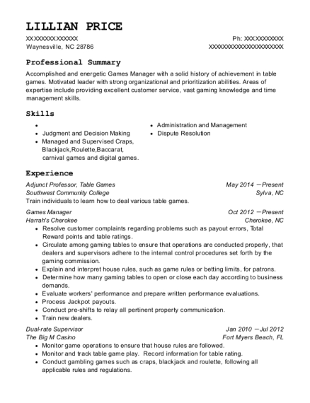 Adjunct Professor resume example North Carolina