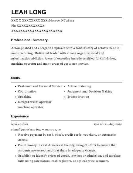 Lead Cashier resume example North Carolina