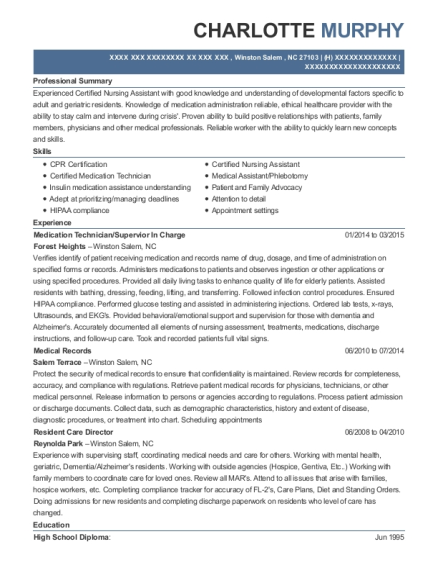 Medication Technician resume sample North Carolina