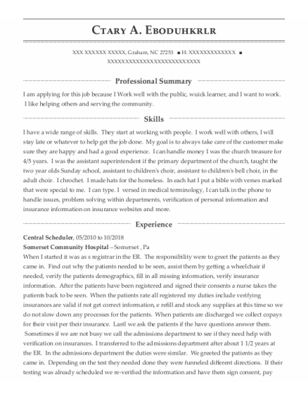 Personal Care Aide resume template North Carolina
