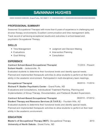 Contract School Based Occupational Therapist resume format North Dakota