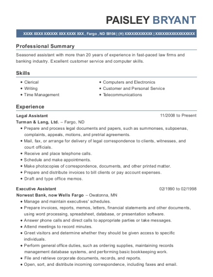 Legal Assistant resume example North Dakota