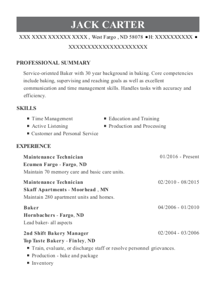Maintenance Technician resume format North Dakota