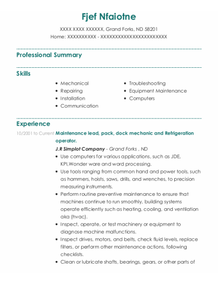 Maintenance Lead resume sample North Dakota