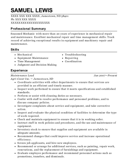 Maintenance Lead resume example North Dakota