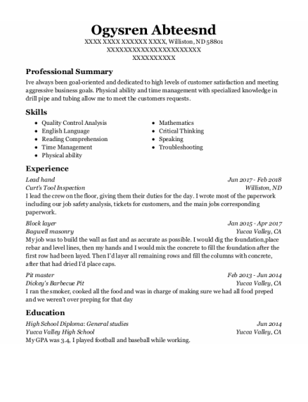 Lead Hand resume sample North Dakota