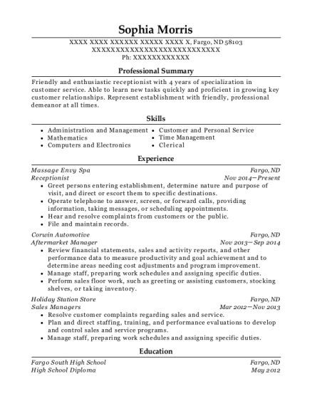 Receptionist resume format North Dakota