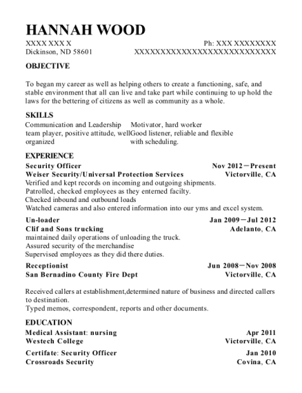 Security Officer resume format North Dakota