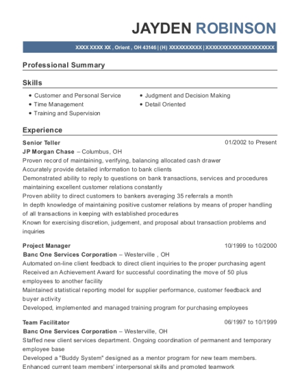 Senior Teller resume template Ohio