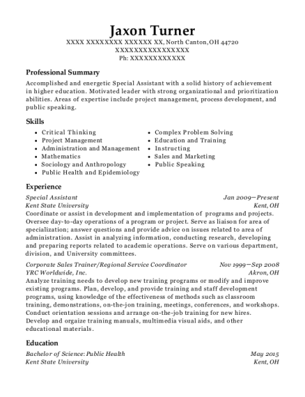 Special Assistant resume example Ohio