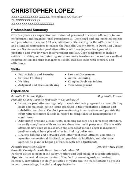 Juvenile Probation Officer resume sample Ohio