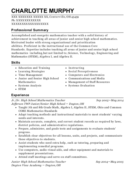 Jr resume template Ohio