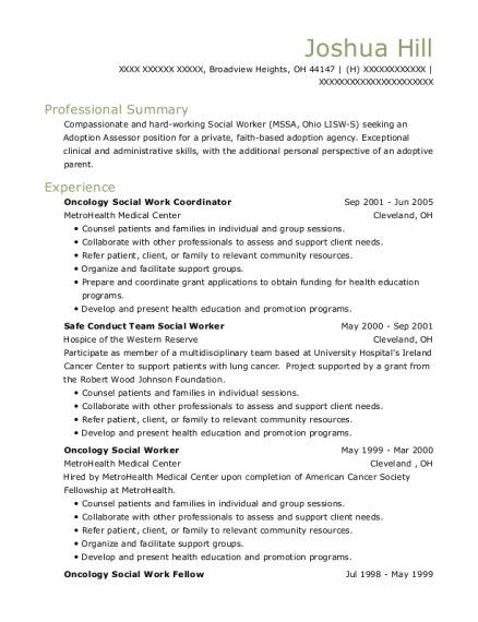 Oncology Social Work Coordinator resume example Ohio