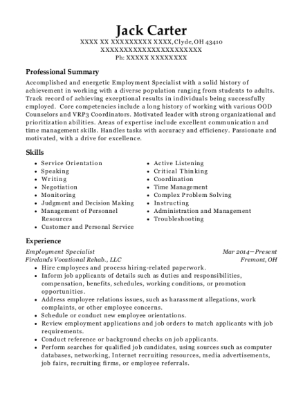 Employment Specialist resume sample Ohio