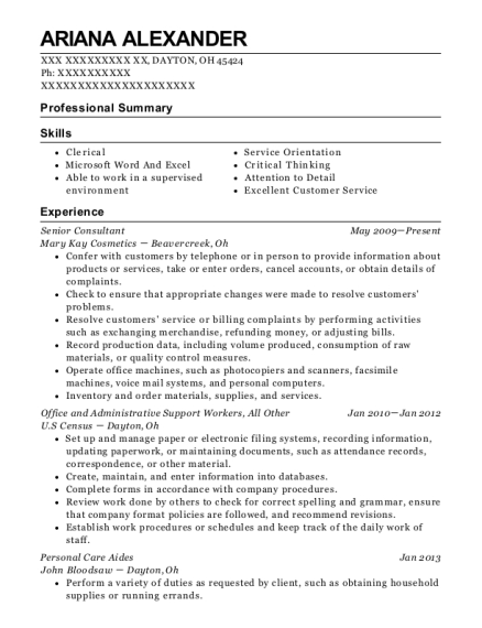 Senior Consultant resume sample Ohio