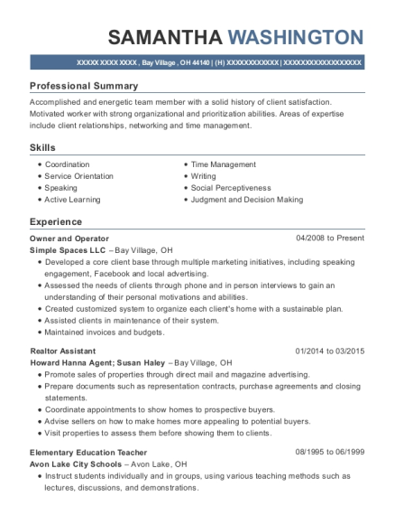 Owner and Operator resume template Ohio