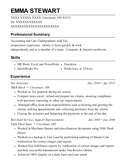 Tax Associate resume template Ohio