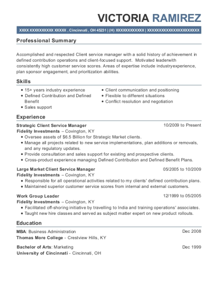 Strategic Client Service Manager resume template Ohio