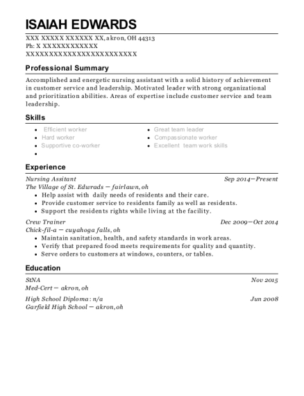 Nursing Assitant resume template Ohio
