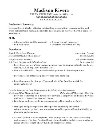 Social Work Case Manager resume format Ohio