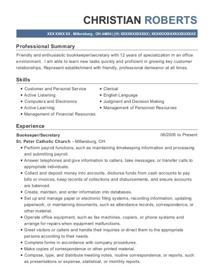 Bookeeper resume format Ohio